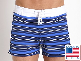 Sauvage Como Italia Stripe Swim Trunk Royal