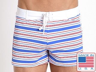 Sauvage Como Italia Stripe Swim Trunk Blue/Red