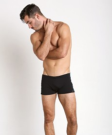 a1bbdef7347bd Find mens watersports square cut fitted swim trunks in gloss black ...