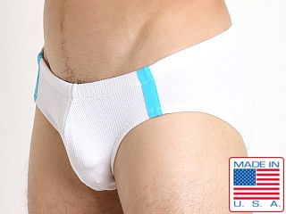 Sauvage Pique Textured Racing Swim Brief White/Turq