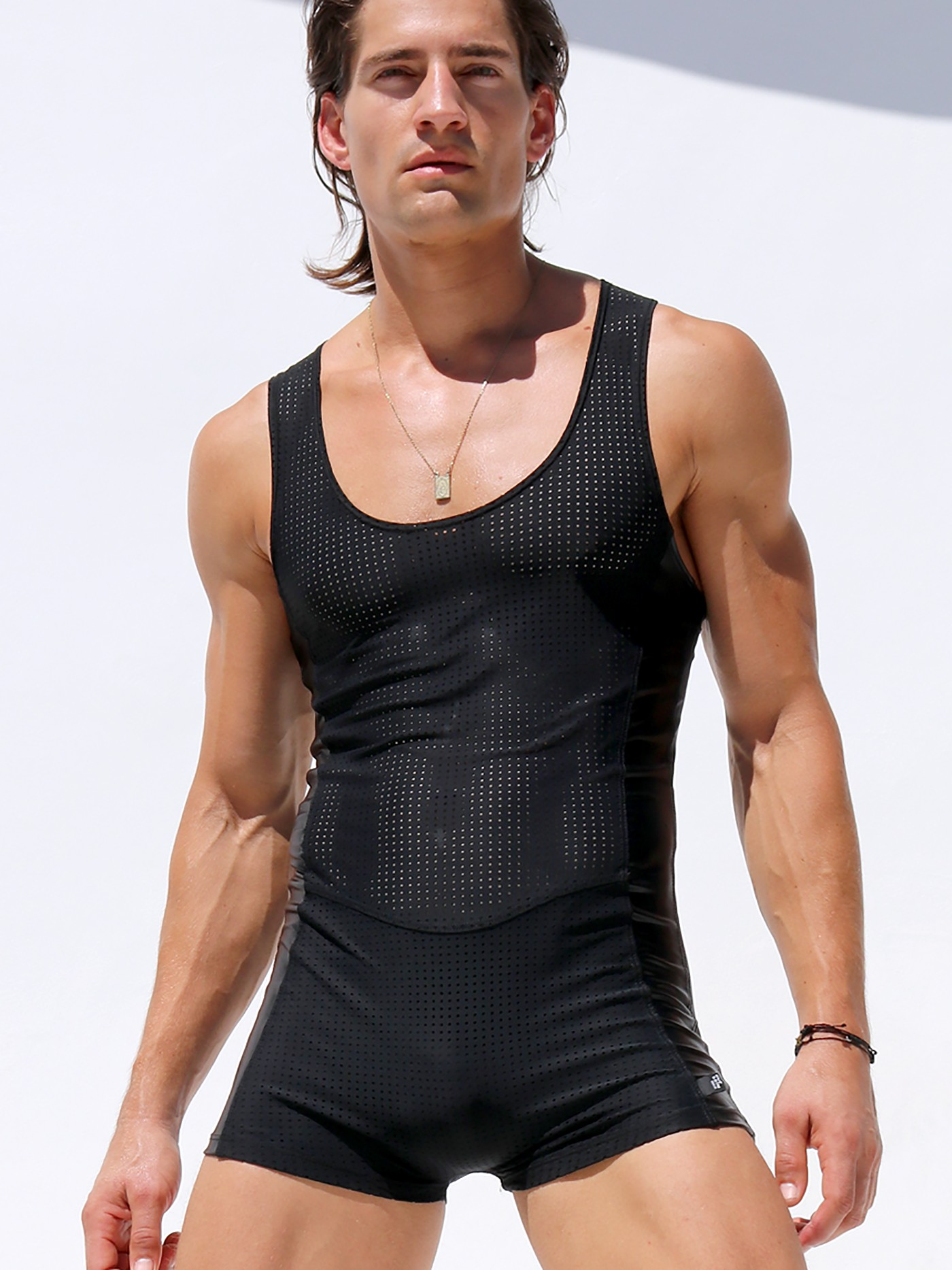 1cbb620cde Rufskin Crude Mesh Panel Bodysuit Black SL5809 at International Jock