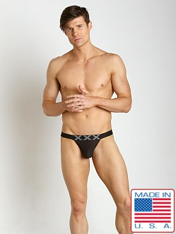N2N Bodywear XXX Nylon Mesh Pocket Jock Sheer Black