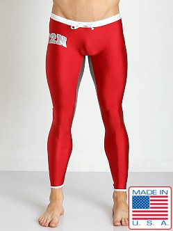 N2N Bodywear USA Spandex Runner Pant Red/Silver