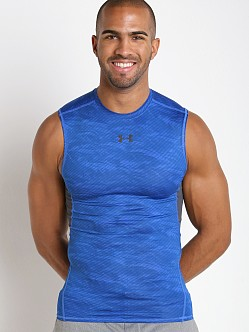 Under Armour Heatgear Sleeveless Printed Compression Tee Blue