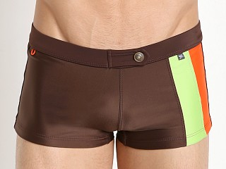 Tulio Flashback Retro Panels Swim Trunk Brown/Acid Green/Acid Or