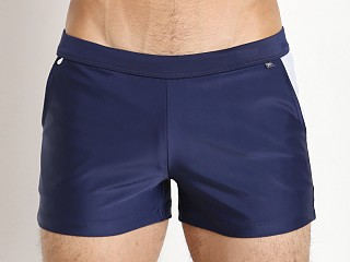 Tulio Lined Square Cut Swim Short Navy/White