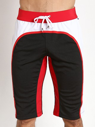 Tulio Knee Length Athletic Panel Workout Pants Black/White/Red