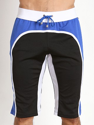 Tulio Knee Length Athletic Panel Workout Pants Black/Royal/White