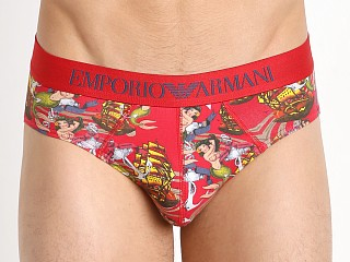 Emporio Armani Old School Tattoo Brief Red