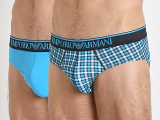 Emporio Armani Pattern Mix Brief 2-Pack Turquoise/Check