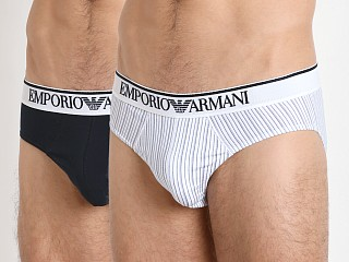Emporio Armani Pattern Mix Brief 2-Pack White/Aviation