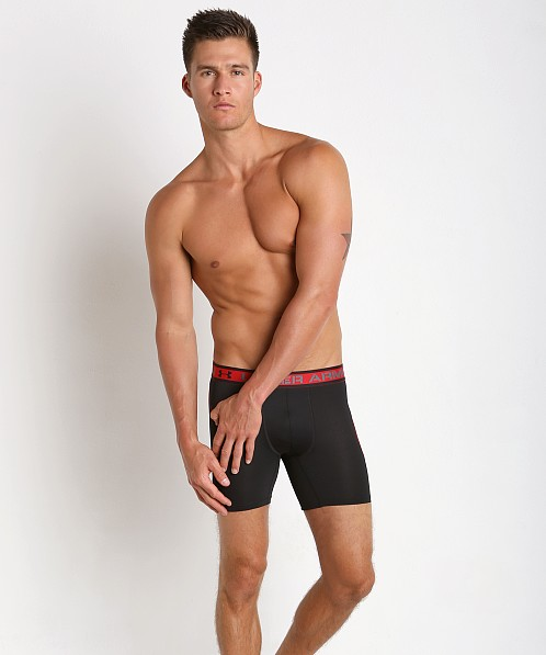 "Under Armour ISO-Chill 6"" Mesh Boxerjock Black/Red"