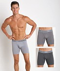 "Under Armour Cotton Stretch 6"" Boxerjock 3 Pack Greys, view 1"