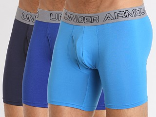 "Under Armour Cotton Stretch 6"" Boxerjock 3 Pack Blues"