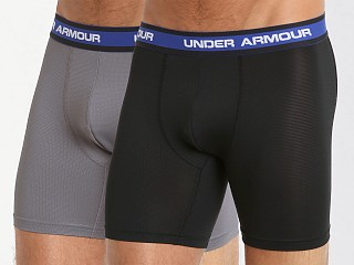 "Under Armour Performance Mesh 6"" Boxerjock 2 Pack Black/Graphite"