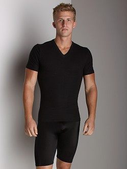 SPANX Cotton Compression V-Neck Shirt Black