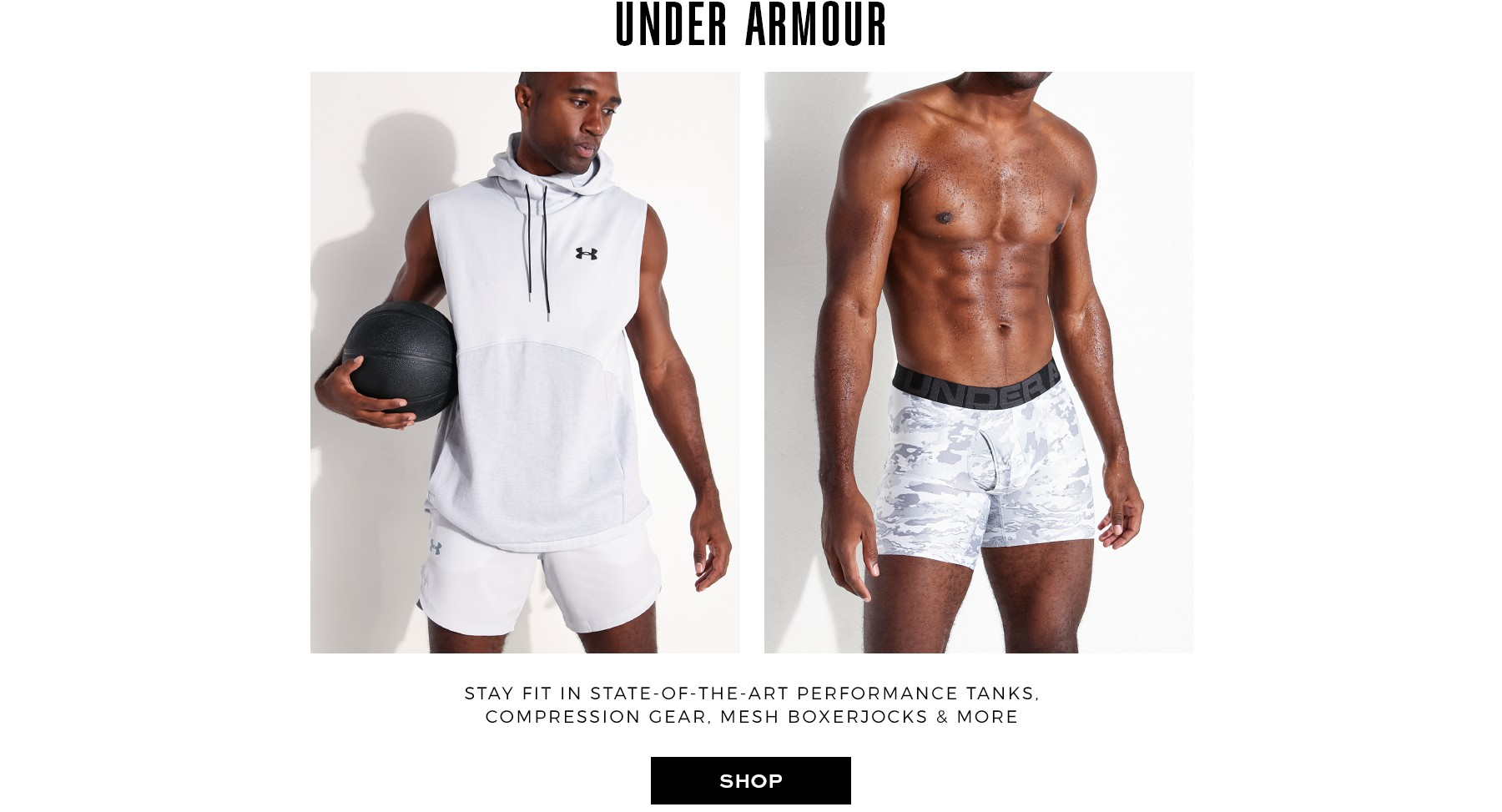State of the art activewear, tank tops, and boxer jocks