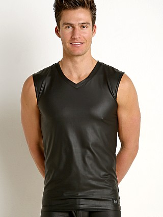 Model in black Gregg Homme Crave Faux Leather V-Neck Muscle Shirt