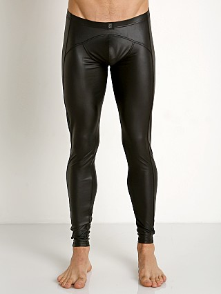 Model in black Gregg Homme Crave Faux Leather Leggings