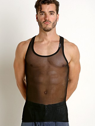 Model in black Private Structure Intima Mesh Nylon Tank Top
