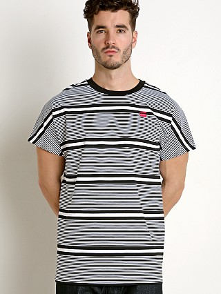 Model in white/dk black G-Star RC Collyde 5 Stripe T-Shirt