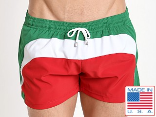 Pistol Pete Tristar Swim Short Green/White/Red