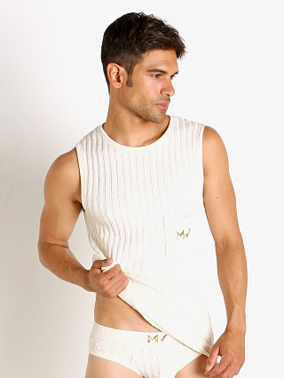 Model in ivory Modus Vivendi Knitted Muscle Shirt