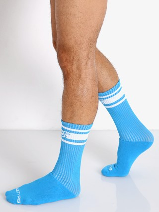 Model in aqua Nasty Pig Hook'd Up Sport Socks