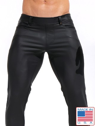 "Model in black Rufskin Morrison ""Rubberized"" Stretch Sport/Lounge Pants"
