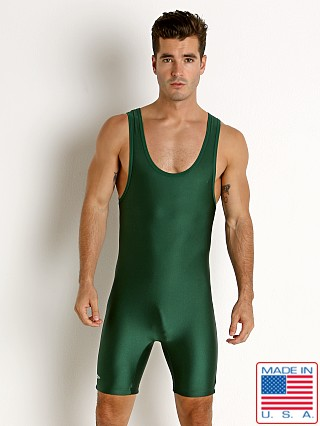 Matman Solid Lycra Wrestling Singlet Dark Green