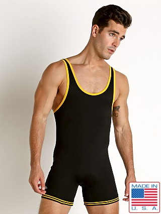 Matman Classic Old School Nylon Wrestling Singlet Black/Gold