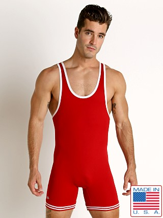 Model in red/white Matman Classic Old School Nylon Wrestling Singlet