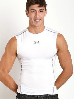 Under Armour Heatgear Sleeveless Compression Muscle Tee White