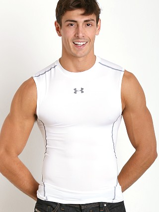 Model in white Under Armour Heatgear Sleeveless Compression Muscle Tee