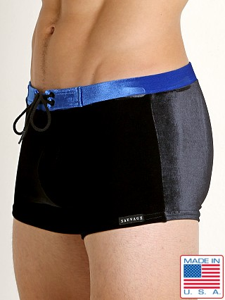 Sauvage Velvet Riviera Swim Trunk Black/Royal
