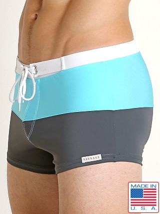 Sauvage Riviera Splice Swim Trunk Charcoal/Turquoise/White