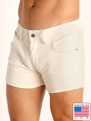 Model in cream LASC Corduroy 5-Pocket Short Shorts