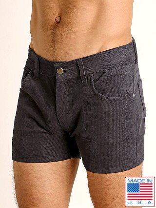 Model in charcoal LASC Corduroy 5-Pocket Short Shorts