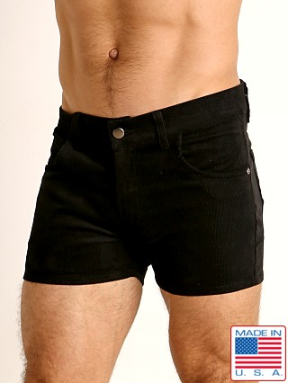 Model in black LASC Corduroy 5-Pocket Short Shorts