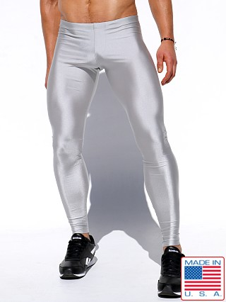 Model in silver Rufskin Lunge Metallic Shine Nylon Sport Leggings