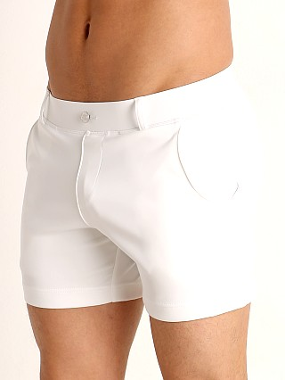 Model in white Timoteo Santa Monica Swim Short