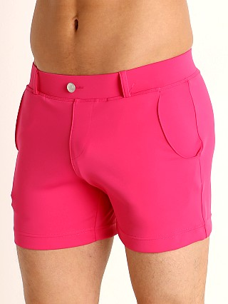 Model in fucshia Timoteo Santa Monica Swim Short