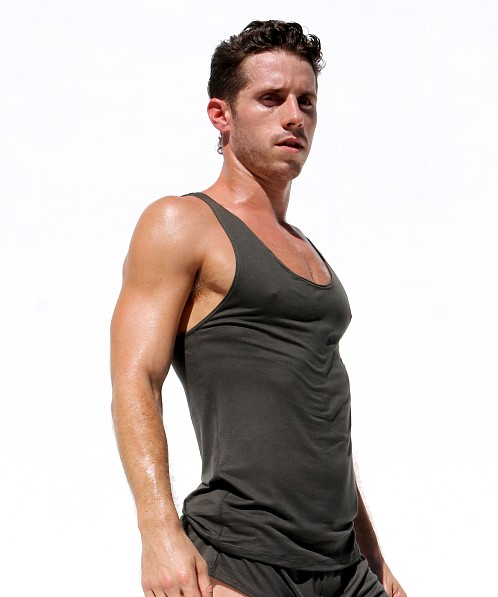 Rufskin Summit Stretch Rayon Tank Top Dark Army