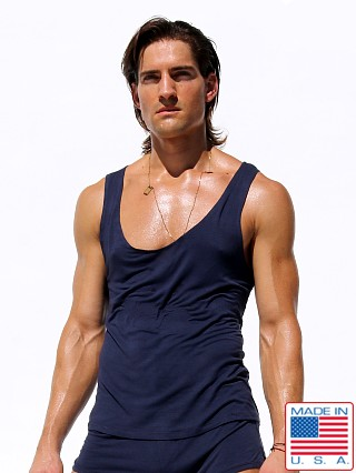 Model in denim blue Rufskin Summit Stretch Rayon Tank Top