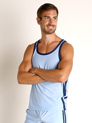 Complete the look: LASC Performance Mesh Tank Top Baby Blue/Navy