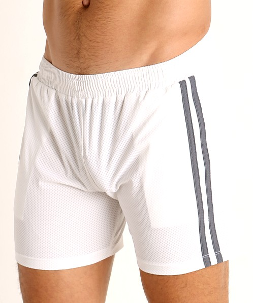 LASC Performance Mesh Active Shorts White/Grey