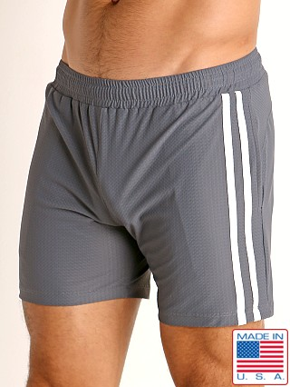 Model in grey/white LASC Performance Mesh Active Shorts