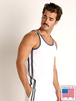 Model in white/grey LASC Performance Mesh Tank Top