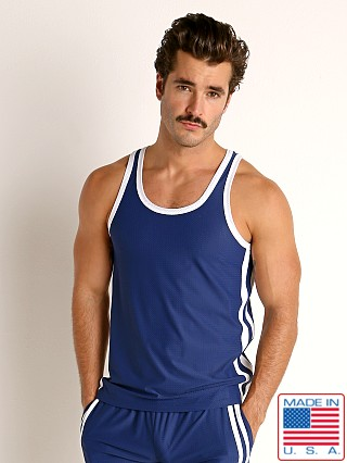 Model in navy/white LASC Performance Mesh Tank Top