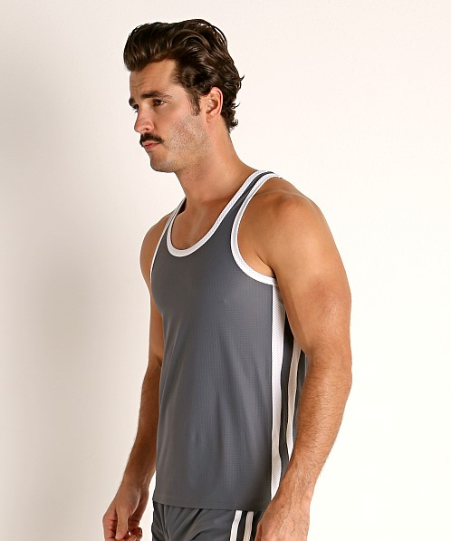 LASC Performance Mesh Tank Top Grey/White